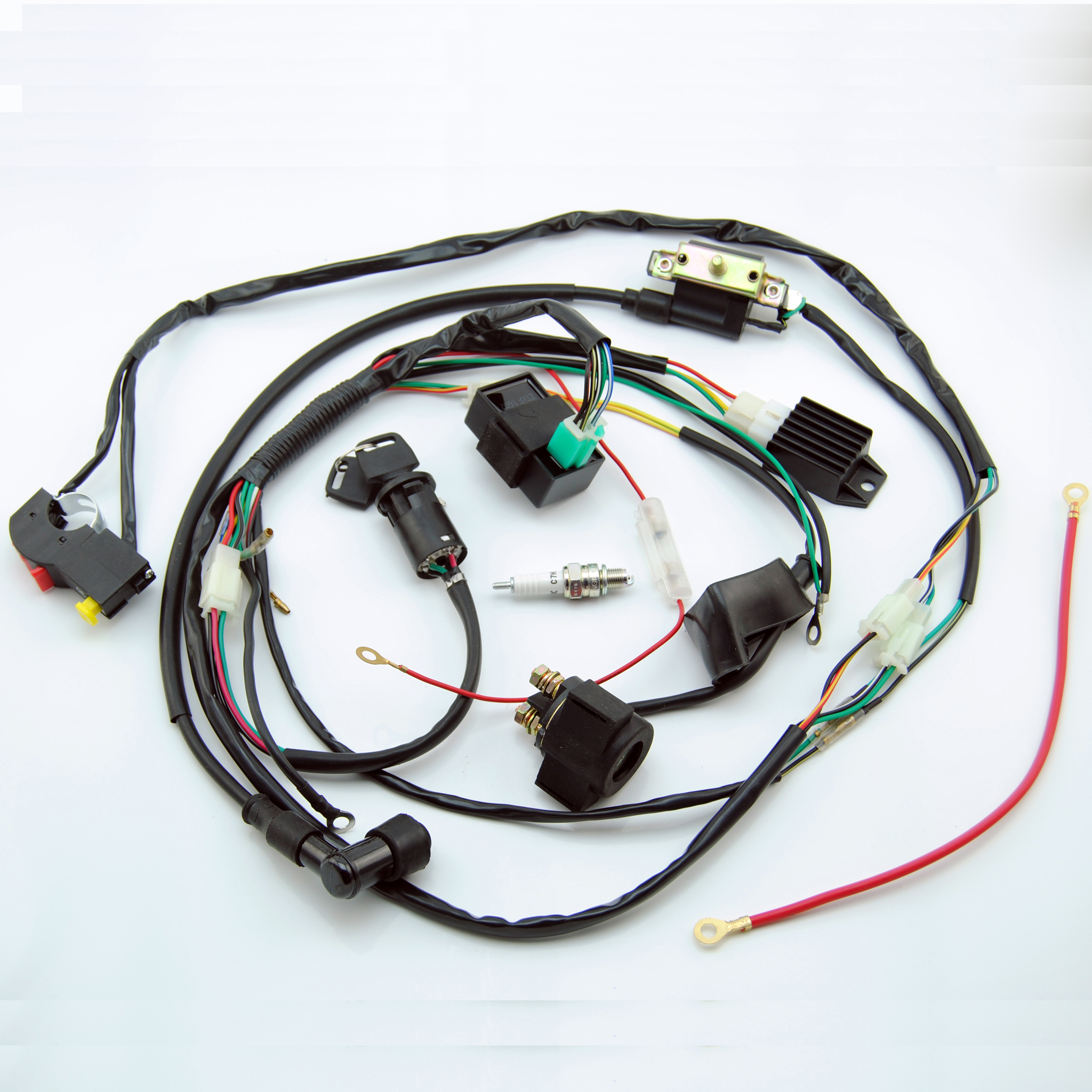 complete electric start engine wiring harness loom 110 125cc quad bike atv buggy free shipping [ 2048 x 2048 Pixel ]