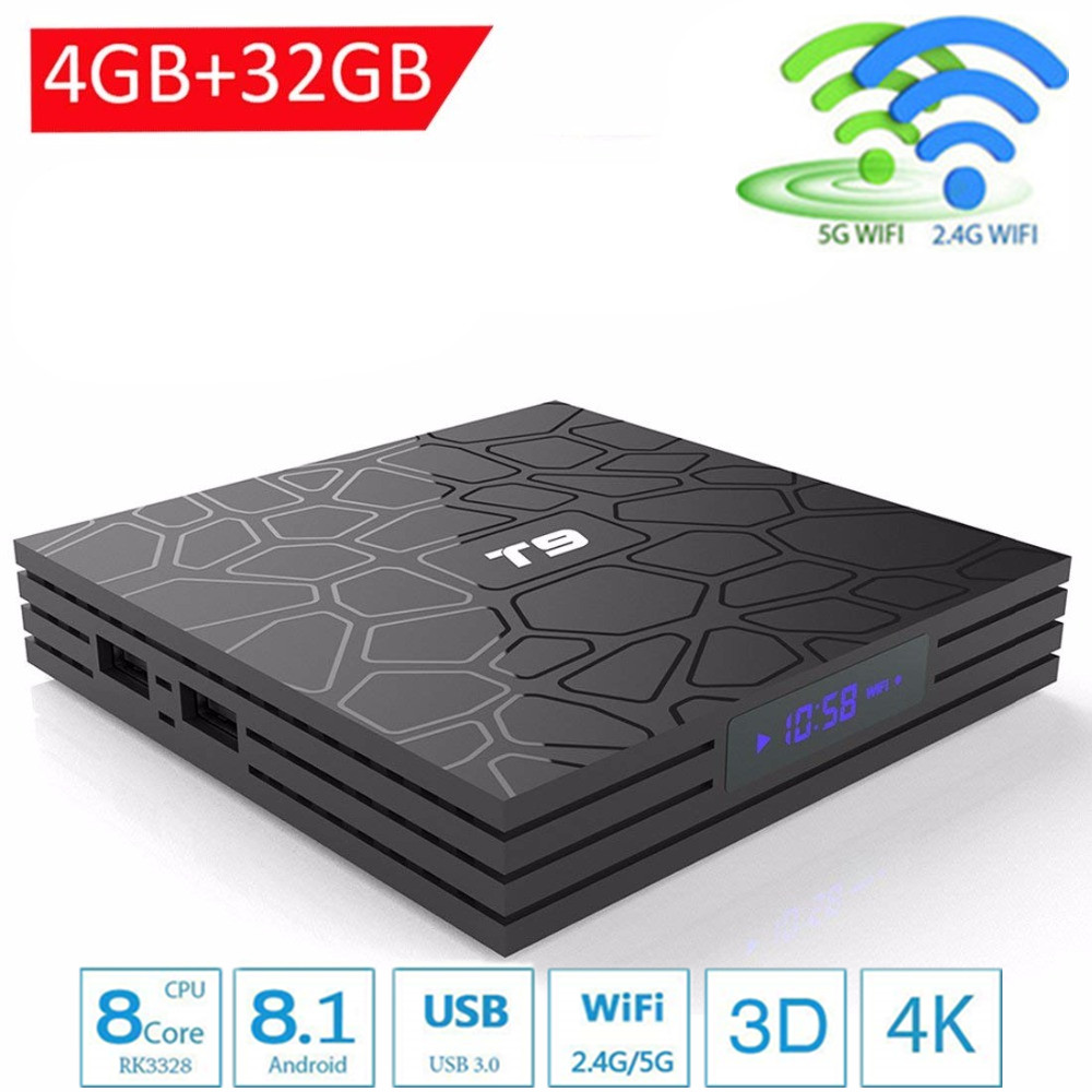 T9 TV Box Android 8.1 4 gb 64 gb RK3328 Quad-Core 4 karat HD Wifi BT4.0 USB3.0 Smart TV box 4 karat Google Play Store Netflix Youtube Box TV