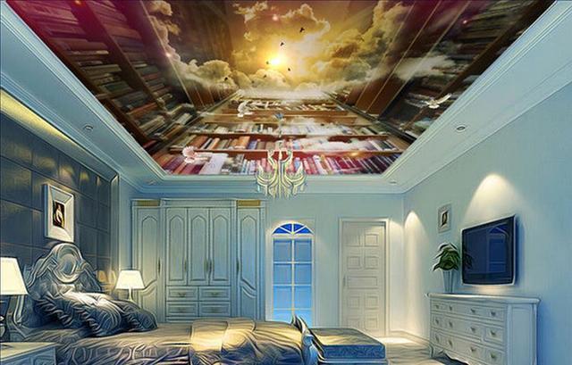 Wallpaper 3d Ceiling Creative Fantasy Bookshelf Decorative Murals