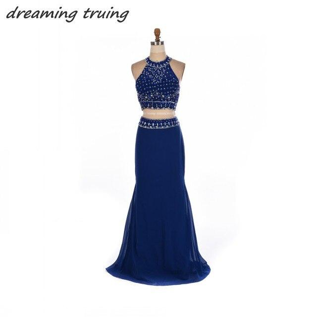 10b2bdd9f10 Longues robes de bal bleu Royal 2018 deux 2 pièces perles cristaux longueur  de plancher