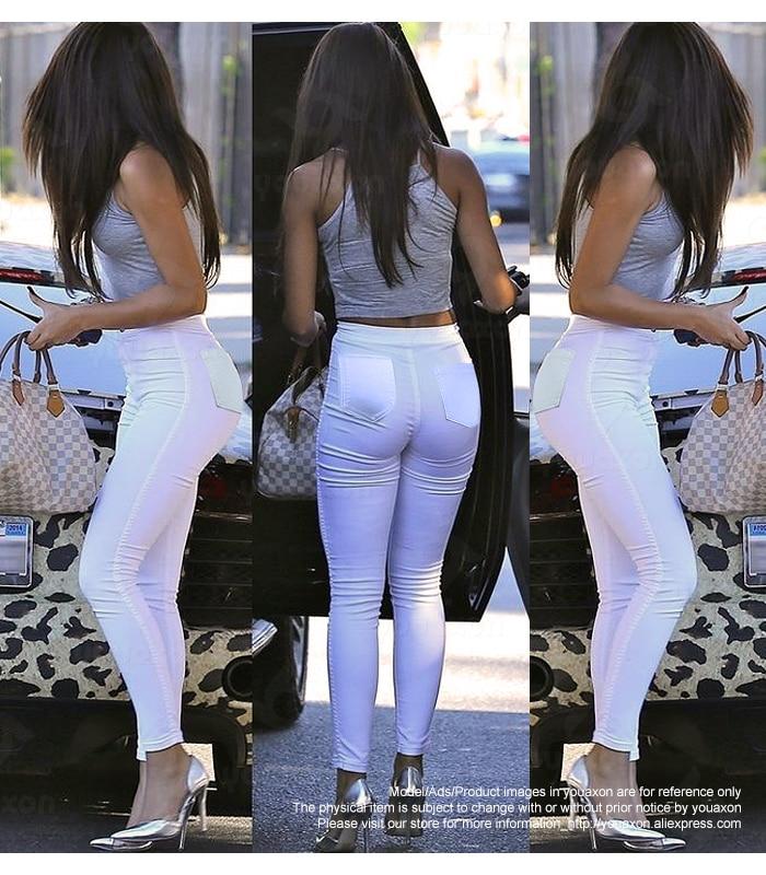 1888 Youaxon Women`s High Waist White Basic Casual Fashion Stretch Skinny Denim Jean Pants Trousers Jeans For Women #2