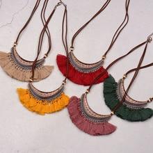 ФОТО amader women's crescent shape bohemian pendant necklace red yellow green tassels retro ethnic sweater chian jewelry hqn032