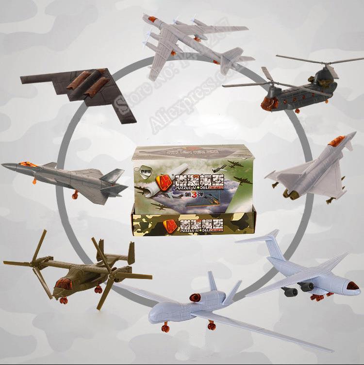 1aef89321ec9 4D Troisième Génération 8 Modèles Avions J-20 Furtif Combattant Bombardier  B-2 Balbuzards Hélicoptère En Plastique Assemblage Modèle