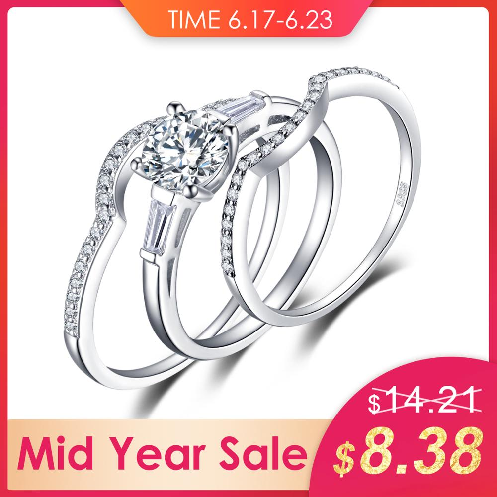 Jewelrypalace 1 5ct 3 Stones 3 Pcs Anniversary Wedding Band