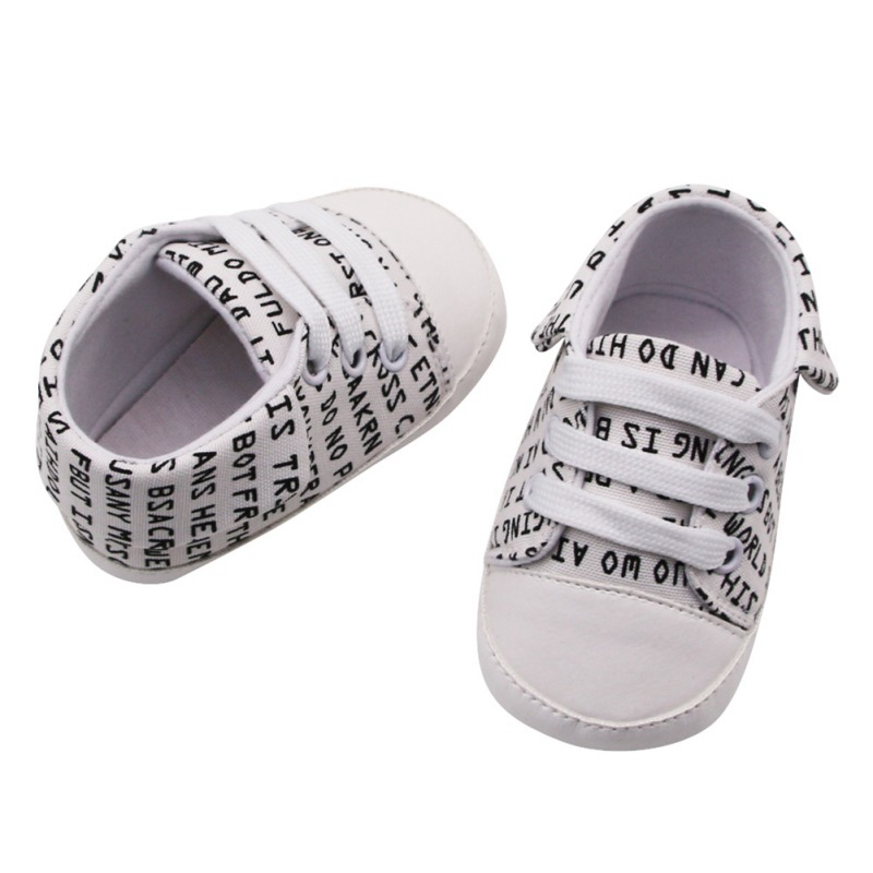 Baby Shoes Baby Boys Breathable Letter Print Anti-Slip Shoes Sneakers Soft Soled Walking Shoes First Walkers