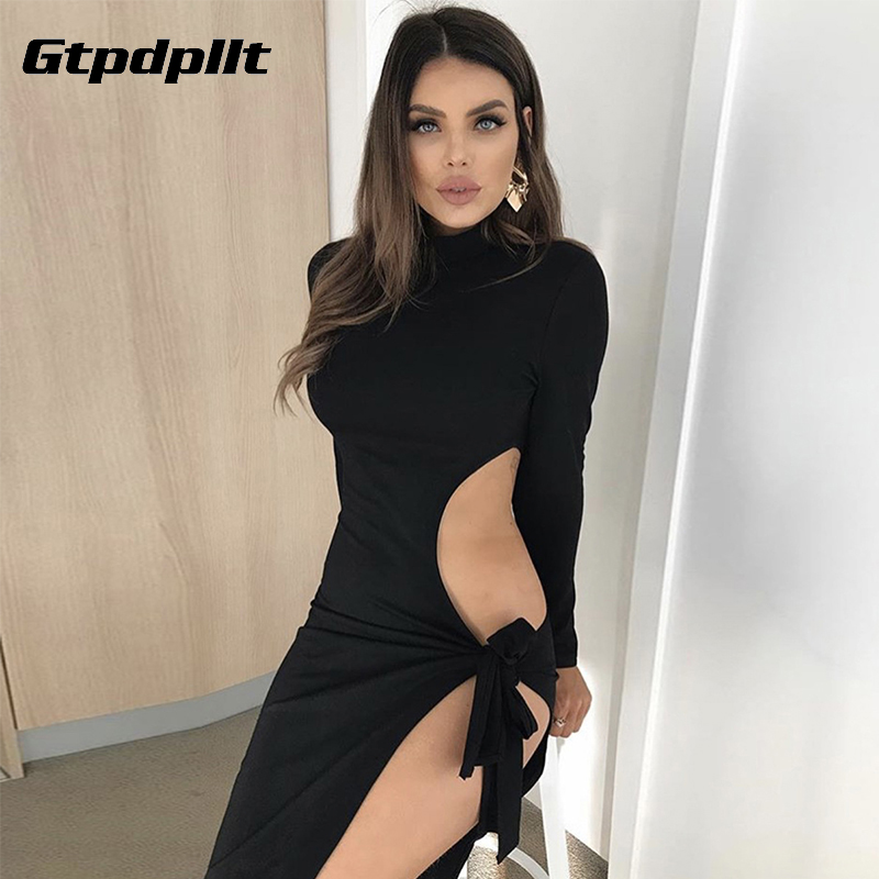 Gtpdpllt <font><b>Sexy</b></font> Women Dress Summer Clothes Robe femme Hollow Out Lace up Bandage Dresses Bodycon Party Beach <font><b>Vestidos</b></font> <font><b>Verano</b></font> <font><b>2018</b></font> image