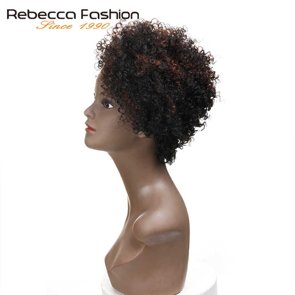 Rebecca a Buon Mercato a Breve Bob Riccio Crespo Parrucche per Le Donne Nere Dei Capelli Umani Brasiliani Parrucca Marrone DYF1B/33 # Colore prezzo All'ingrosso