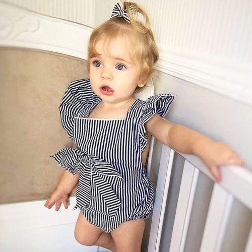 a42096a08 Cute Newborn Baby Girl Bow Sleeveless Striped Romper 2018 Infant ...