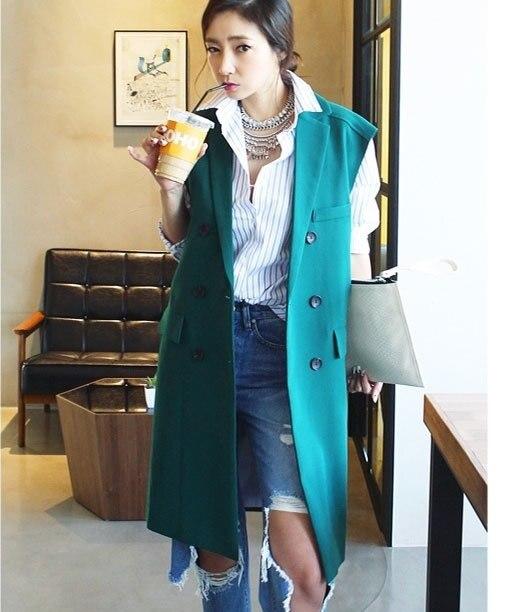 Streetwear Solid Long Style Blazer Vest Women Coat Pockets Double Breasted Tailored Collar Gilet Tops Sleeveless Colete Feminina