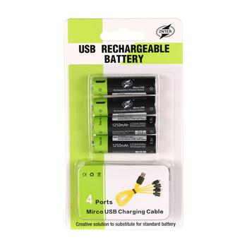 ZNTER AA 1 5V 1250mAh akumulator litowo-polimerowy 2 4 sztuk z kablem USB w jednym opakowaniu tanie i dobre opinie AA 1 5V 1250mAh USB Rechargeable Battery 701 mAh ~ 1299 mAh Akumulator litowo polimerowy Baterie Tylko 2 4pcs USB Rechargeable Battery