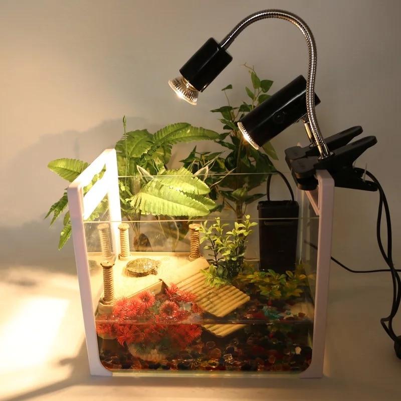 25W UVA&uvb Adjust Temperature Lamps Turtle Reptile Heat Back Pet Light Tortoise Calcium Solarium  Aquarium Habitat Lighting