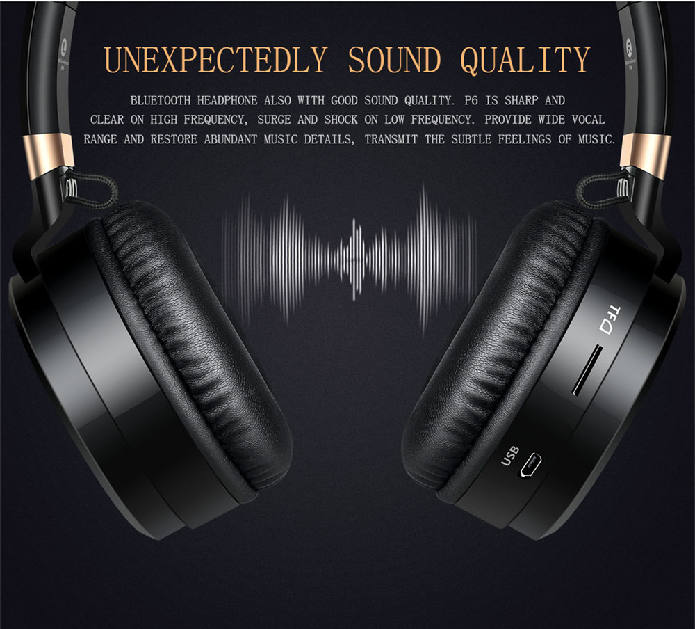 Sound Intone P6 S Bluetooth Headsets Stereo wireless Headphones With MIC Support FM Radio TF Card Earphone For iPhone Xiaomi PC 5