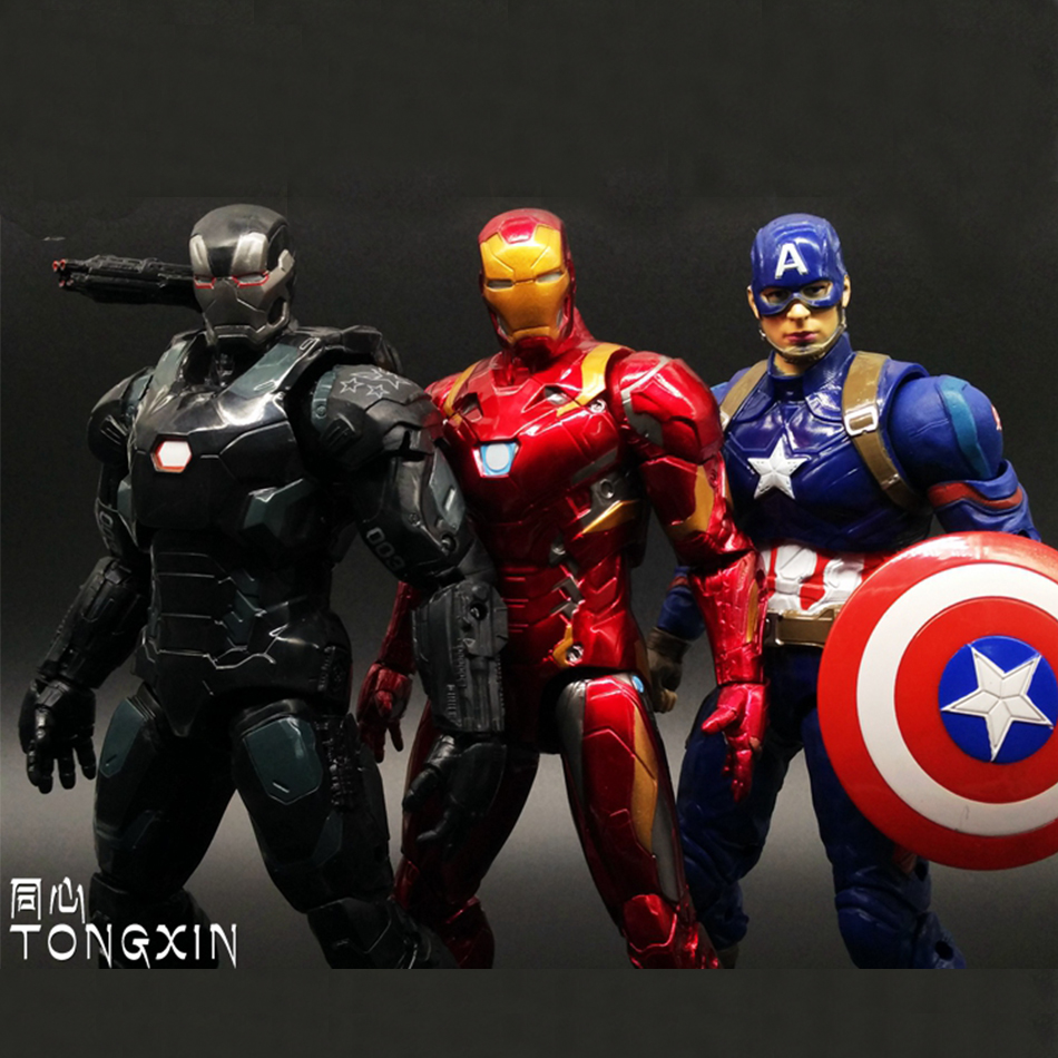 1pcs <font><b>Captain</b></font> <font><b>America</b></font> 3 war machine Civil War <font><b>Avengers</b></font> Iron Man <font><b>MARVEL</b></font> Movable Movie PVC 17cm Action Figure <font><b>Shield</b></font> Kids Toy