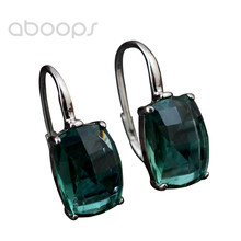 Latest Fashion 925 Sterling Silver Rectangle Green Crystal Leverback Earrings for Women Girls Free Shipping