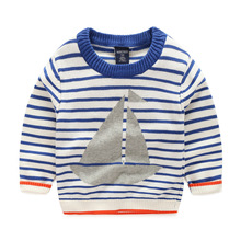 2016 New Autumn Kids Clothes Baby Boy Sweater Striped Print Sailing Boat Toddler Boy Pullover Full Sleeve