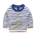 2017 New Autumn Kids Clothes Baby Boy Sweater Striped Print Sailing Boat Toddler Boy Pullover Full Sleeve
