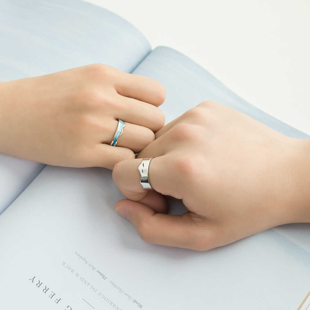 Thaya ปลาย Earth ออกแบบแหวน S925 Silver Sky Blue Wave แมงกะพรุน Tropical แหวนผู้หญิงตุรกีเครื่องประดับ Elegant