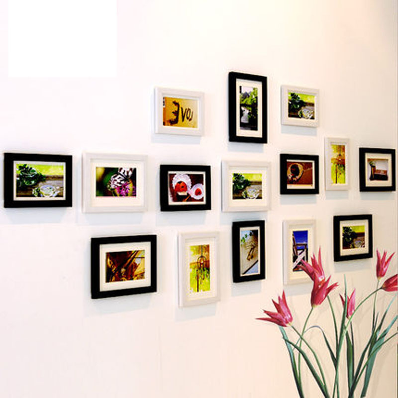 15 stücke Holz bilderrahmen wohnzimmer fotowand bilderrahmen wand ...