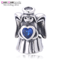 925 sterling silver original blue crystal heart angel Charm Beads Fit Pandora Bracelets pendant berloque jewelry for women gifts