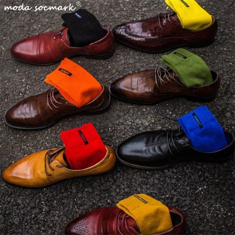 Moda Socmark Fashion Mens Socks Combed Cotton Solid Color Business Socks For Man British Style Multi-Colored Week Socks For Men