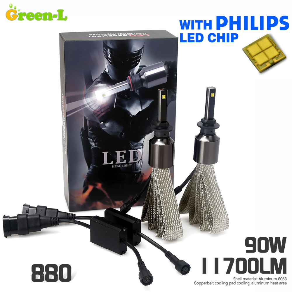 90W 11700LM with Genuine Philips chip Car LED Headlight Kit Set H1 H3 H4 H7 H9