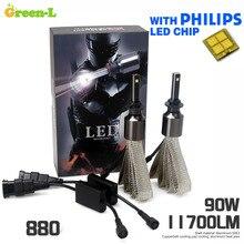 Zielony-l 90 w 11700lm h11 9012 9008 oryginalne philips chip samochodów auto led reflektor lampa kit set