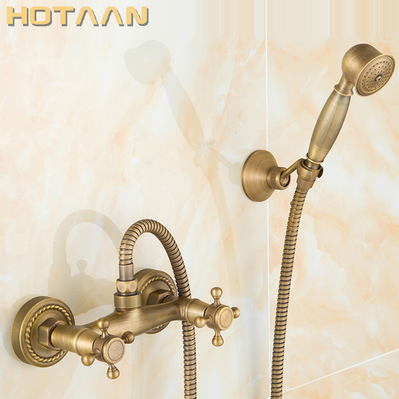 Free shipping Antique Brass Bathroom Bath Wall Mounted Hand Held Shower Head Kit Shower Faucet Sets YT-5346-AFree shipping Antique Brass Bathroom Bath Wall Mounted Hand Held Shower Head Kit Shower Faucet Sets YT-5346-A