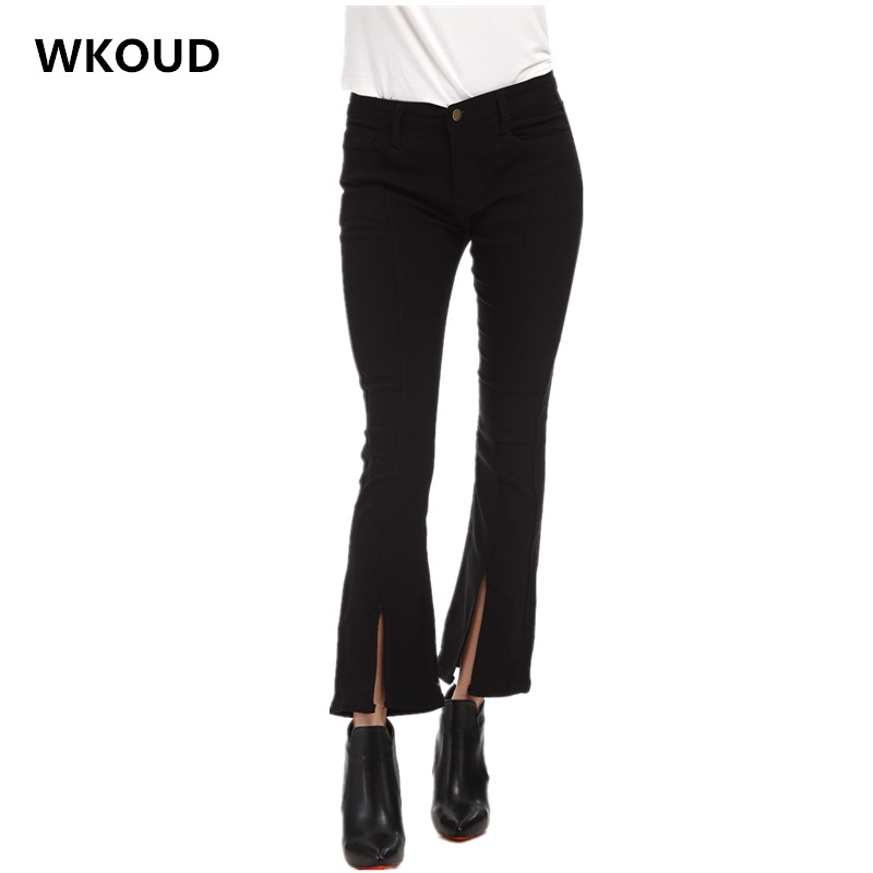 WKOUD Women 2017 <font><b>Jeans</b></font> Fashion Female's Casual Ankle-Length Flare Pants With Pockets Mid Waist Skinny <font><b>Jag</b></font> Denim Trousers P8056