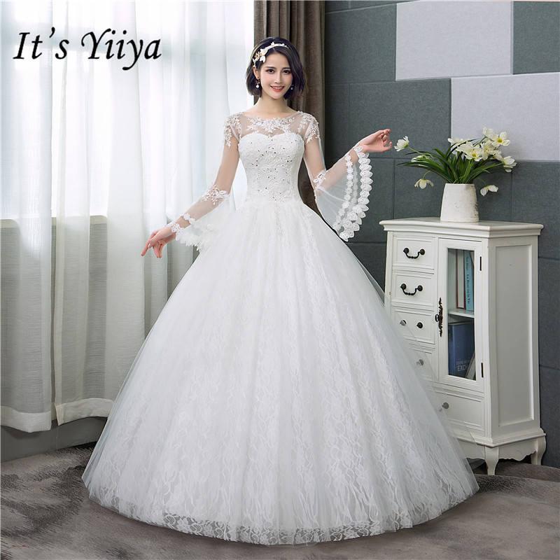 C'est YiiYa nouvelles robes de mariée à manches longues évasées robe de mariée Simple à col rond à lacets HS283