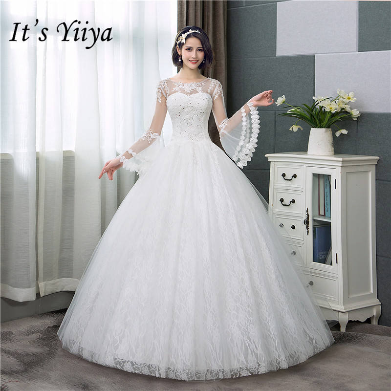 It's YiiYa New Long Flare Sleeve Wedding Dresses Simple O-neck Back Lace Up Wedding Gown HS283