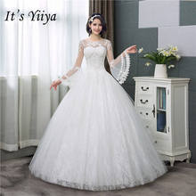 US $34.3 48% OFF|It's YiiYa New Long Flare Sleeve Wedding Dresses Simple O neck Back Lace Up Wedding Gown HS283-in Wedding Dresses from Weddings & Events on AliExpress - 11.11_Double 11_Singles' Day