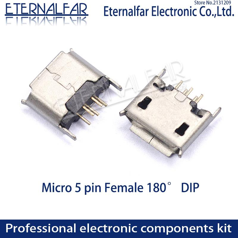 MK5P MINI USB2.0 Type A Female Micro DIP 180 Degree Straight Legpositioning Post Straight Vertical Connector Needle Welding Wire