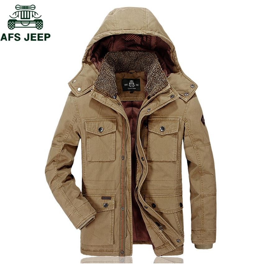 AFS JEEP Brand Winter Jacket Warm Outwear Parkas Men Coat Men's Casual Cotton Padded Middle-aged Men's Military chaquetas hombre