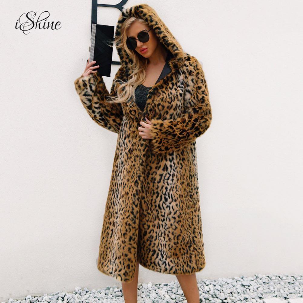 Women Faux Fur Long Winter Warm Trench Coat Jacket Ladies Overcoat Outwear