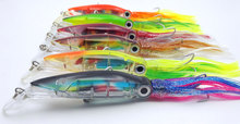 [6PCS] 24cm/40g Fishing Lures Tuna 6 Colors Squid Bionic Lures/Big Size Squid Skirts Trolling Bait Hardbody Fishing