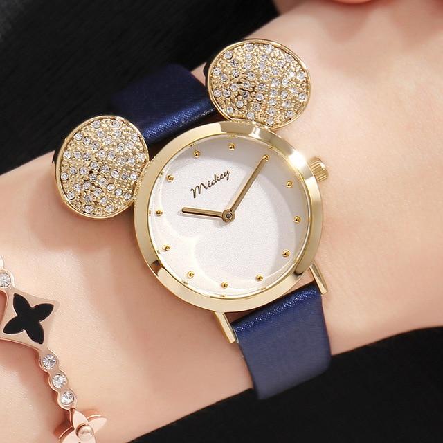 fashion girls watches genuine leather big ear Disney Brand Mickey mouse Wristwat