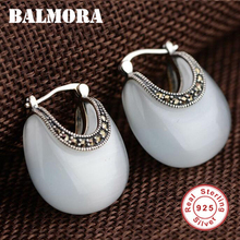 BALMORA 100% Luna Forma Real 925 Joyería de Plata Esterlina Pendientes Ópalo para Las Mujeres Regalos de Joyas Clásicas de La Moda Femenina MYS30235