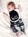 Verano niños que arropan sistemas de los bebés de la muchacha de la impresión de la letra corto manga t-shirt / top + pants 2 unids adapte ropa