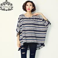 Plus Size T Shirt Women S Dress Cotton Striped Print Batwing Sleeve Fashion Large Size Tops