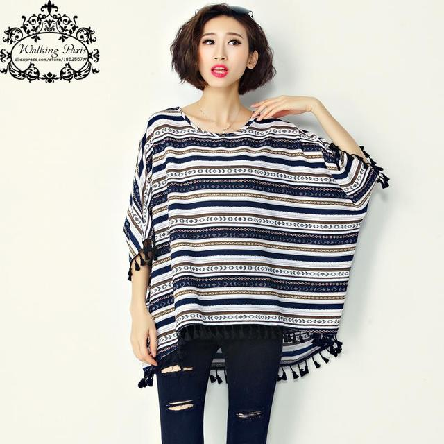 575aa3aeacf Big Size T-Shirt Women s Dress Cotton Striped Print Batwing Sleeve Fashion  Large Size Tops
