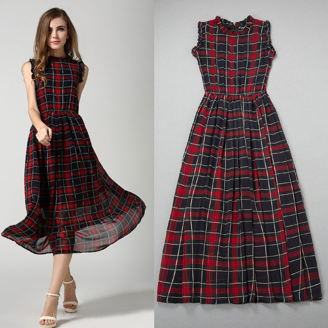d3816e44be Women Preppy Style Maxi Long Sleeveless Red and Black Plaid Dress Gown  Clothing Robe Femme Desigual Vestidos Femininos Kleider