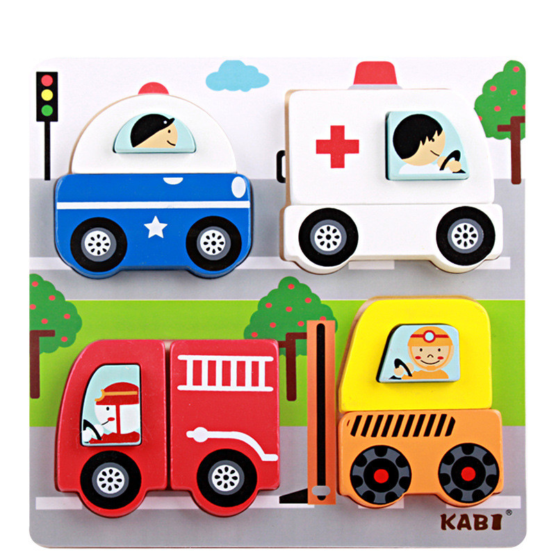 Baby Toys New Cartoon Animal/Vehicle 3D Puzzle Wooden Toys Scenes Puzzle Child Educational Learning Birthday Gift