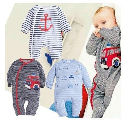 Новорожденного полосатая одежда автомобильный спорт ползунки милые дети девочка и мальчик одежда для новорожденных одежда barboteuse bebe гарсон