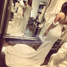 Hot Sale White Sequin Prom Dress Sweetheart Neck Cap Sleeve Appliques Long Mermaid Prom Dresses 2017