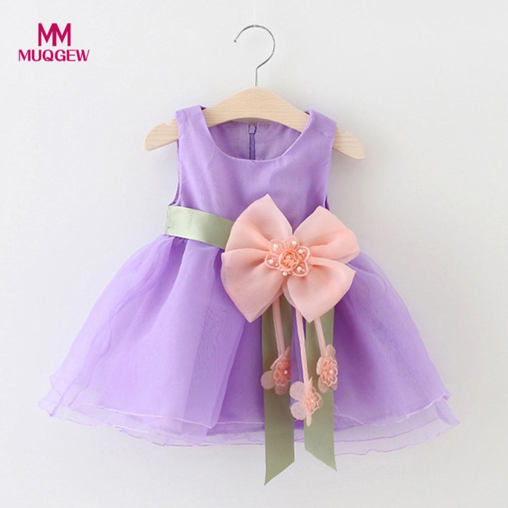 MUQGEW Children dress summer Baby Girls Tutu Princess Flowers Sleeveless O-Neck Mini Grenadine Clothes Dresss menina de roupas