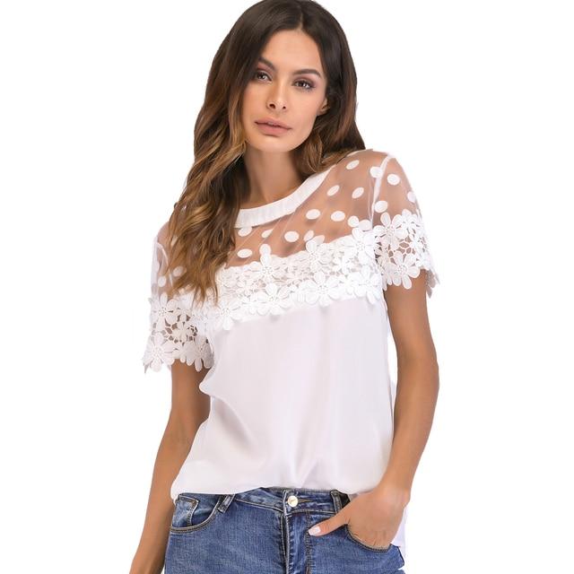 db8b4d3e1244 Plus Size 3XL 4XL 5XL Women Chiffon Blouse Sheer Mesh Floral Crochet Lace Polka  Dot shirts