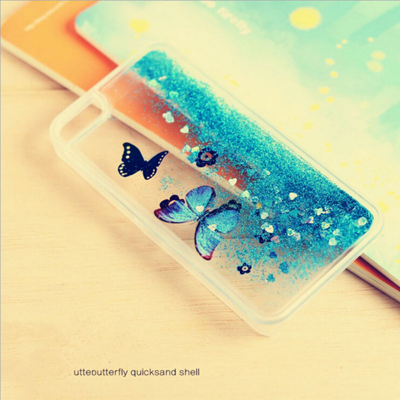Artistic Fashional Glitter bling colorful Quicksand Butterfly Liquid hard back cover clear phone case iphone 5 5S PT2159 - Corcossi Science & Technology CO., LTD store