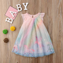2018 Fashion Small Pegasus Unicorn Sleeveless O Neck Printing Skirt Kids Clothes  Dresses For Baby Girls 2d0bbdbebb4a