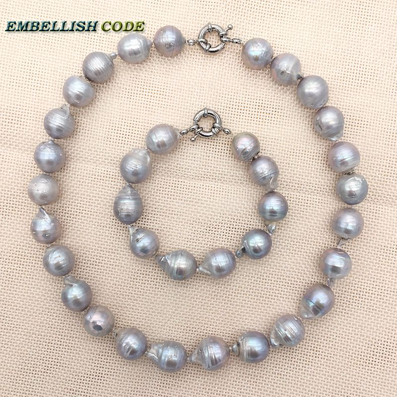 necklace bracelet pearls set big size baroque gray grey color nucleated flame fire ball shape natural pearl elegant for women elegant rhinestoned bowknot three layered faux pearl necklace and bracelet for women