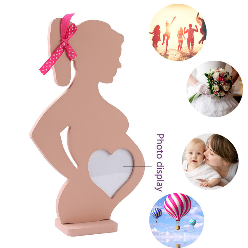 Novelty Wooden Photo Frame For Pregnant Women Souvenirs Baby Footprint Makers Body Props Table Home Decoration Maternity Gifts